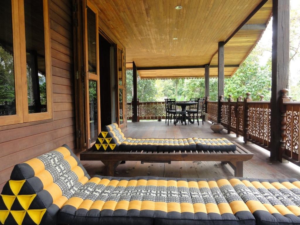 Huge balcony area with heavy wood style