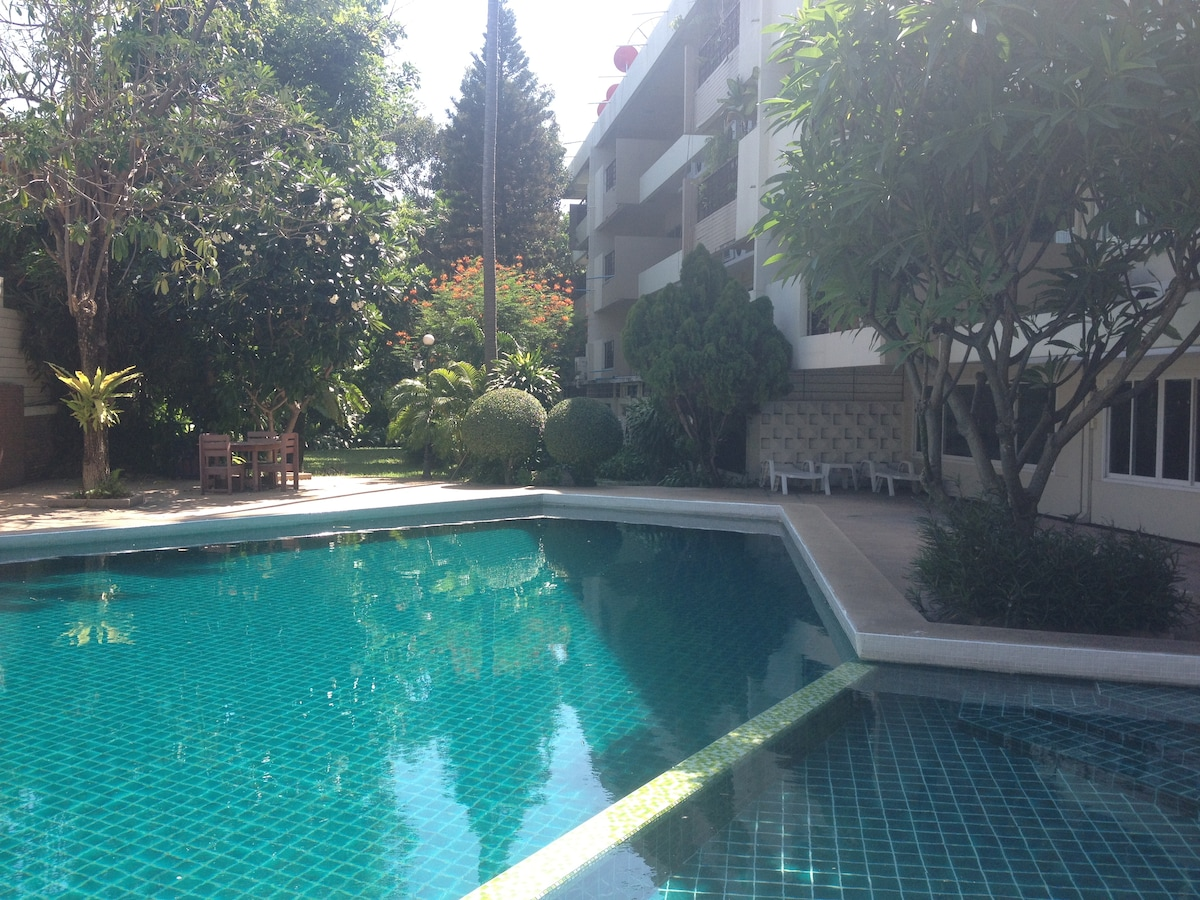 Room in tropical garden
