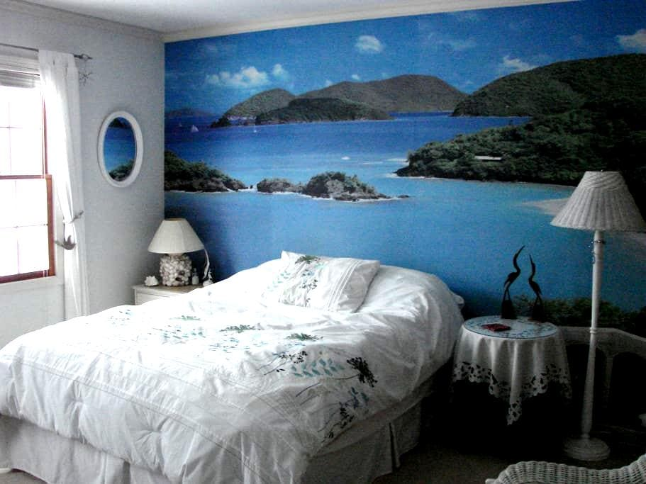 Guest Bedroom with island mural - Hudson