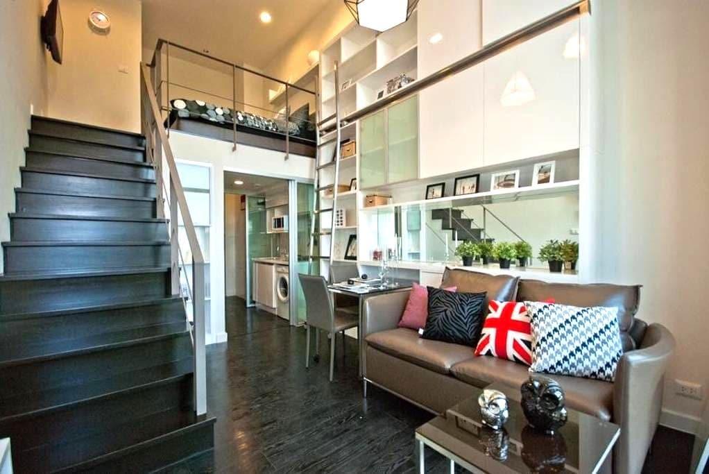 Hip Luxury Duplex~ 300m to BTS~City center•欢迎各位贵宾 - Bangkok - Departamento