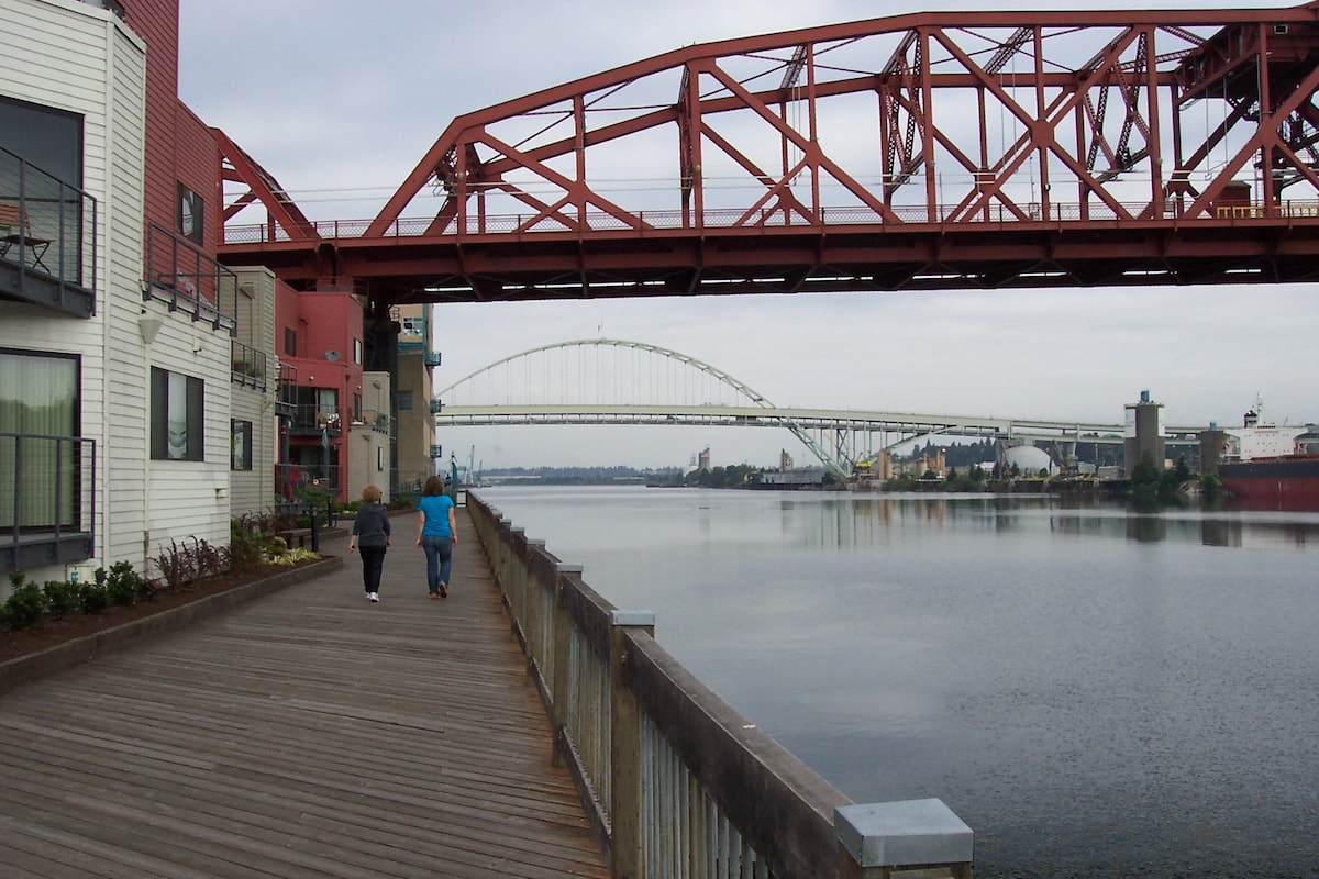 View from the boardwalk and walking path on the riverside of the complex