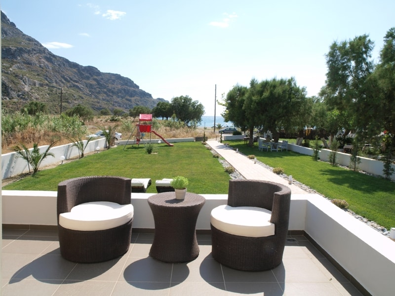 Each apartment has a large private balcony with a view of the mountain and the sea!!