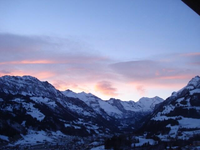 """Winterabendstimmung beobachtet direkt von der Ferienwohnung """"Huli"""""""