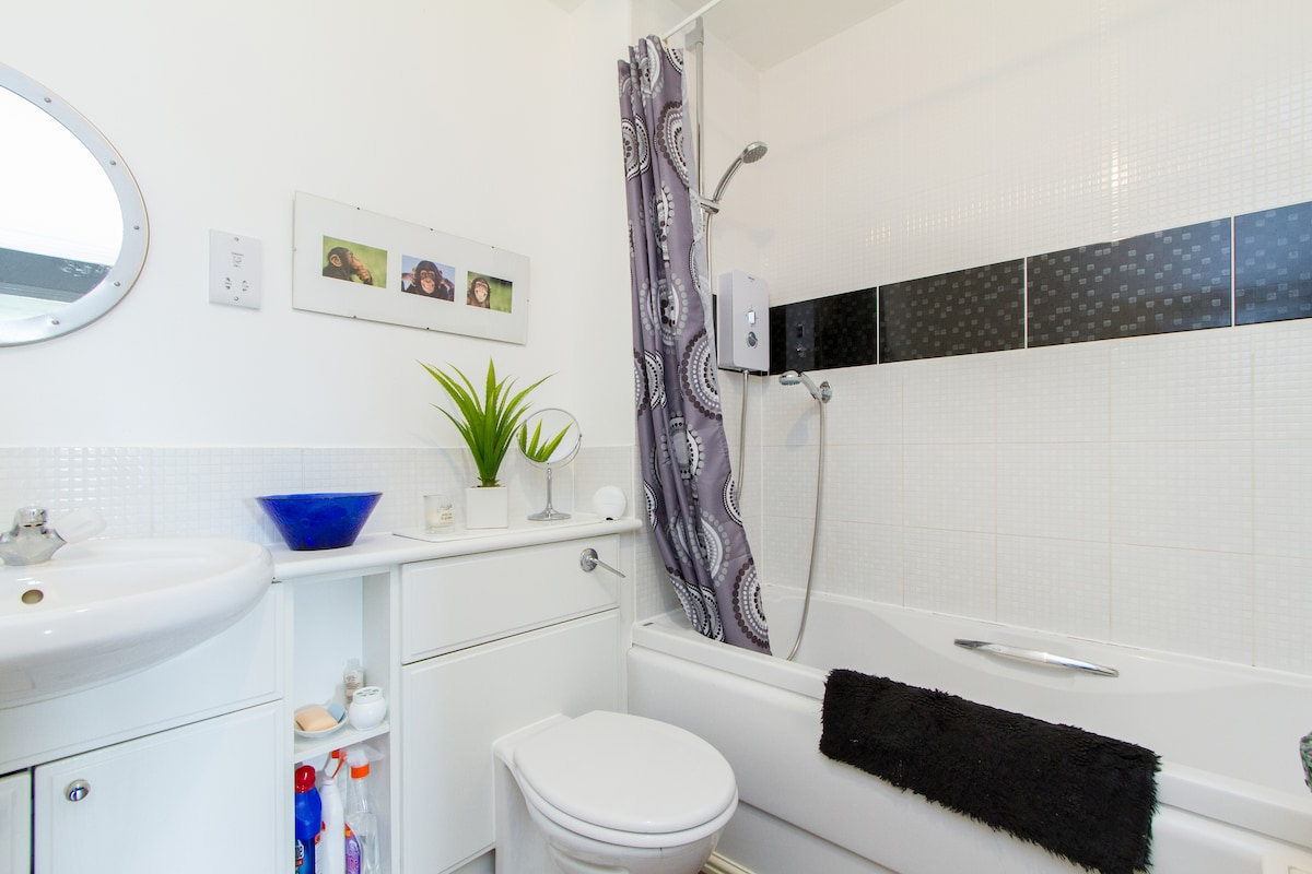 Bathroom with electric shower, toilet & washing facilities.