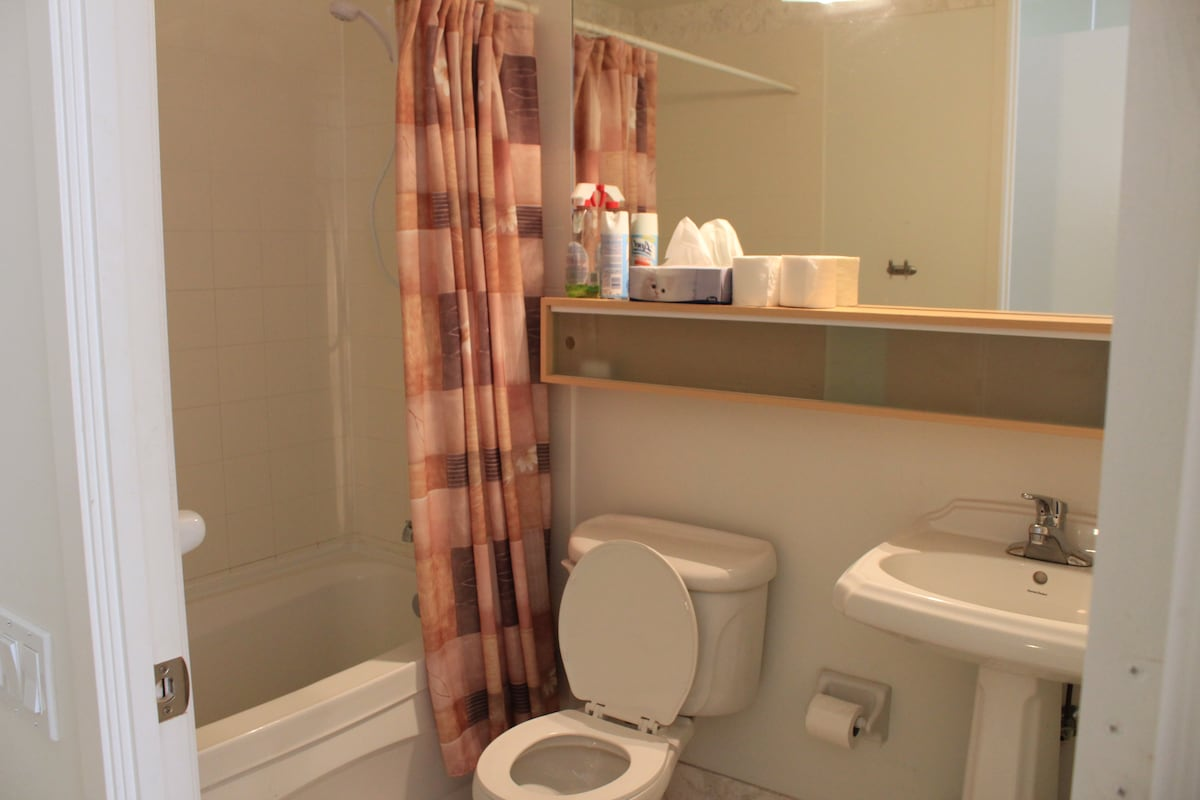 Private bathroom in room with removable shower head.