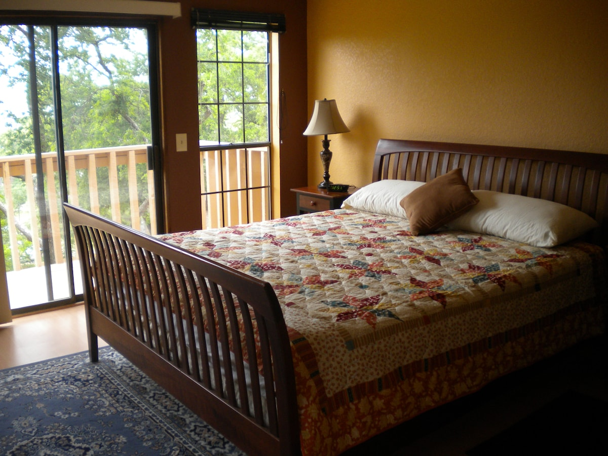 King bed with memory foam mattress; private balcony