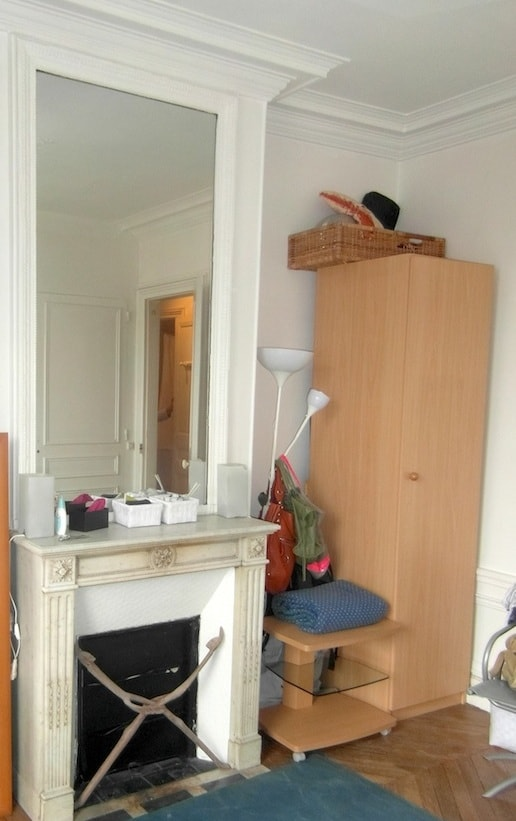 BED-ROOM with mirror, chimney, wardrobe and cupboard