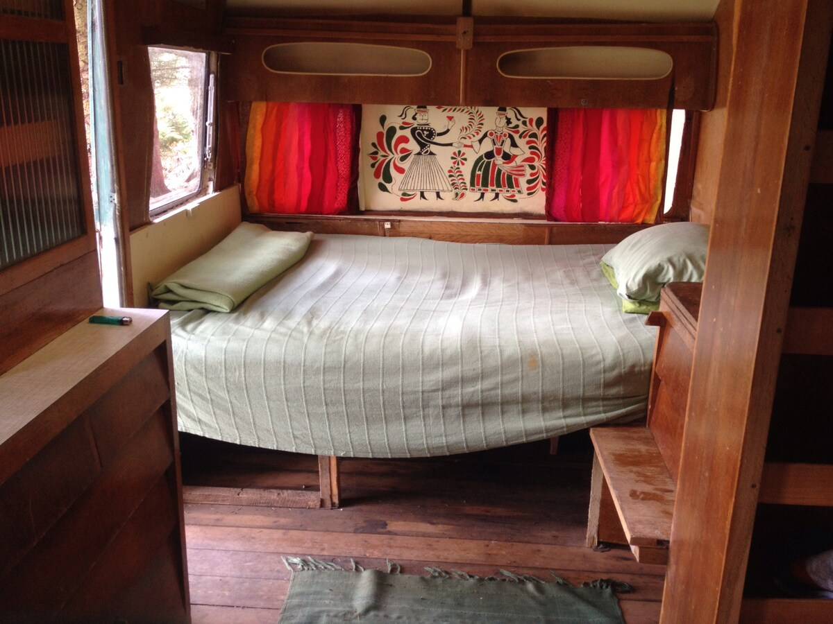 60's caravan, woodstove, sea view