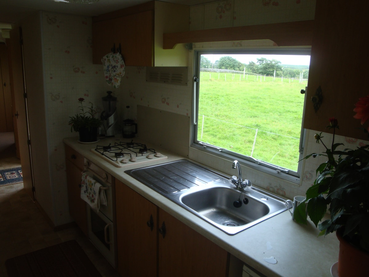 Kitchen. Gas cooker, fridge.