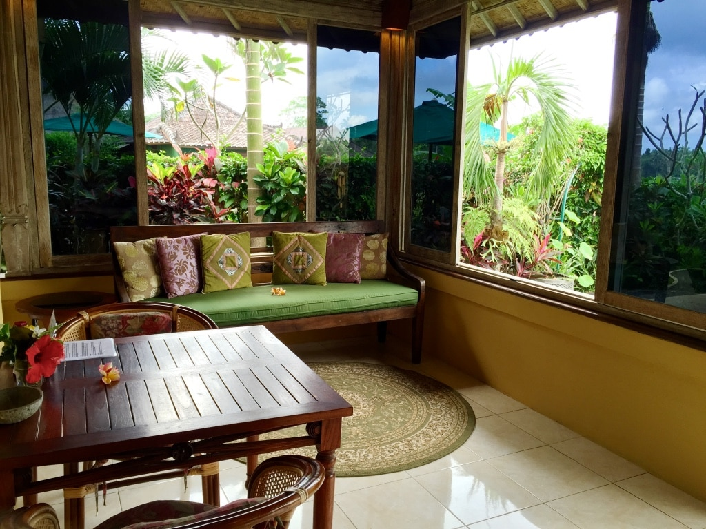 comfortable living and dining area with views