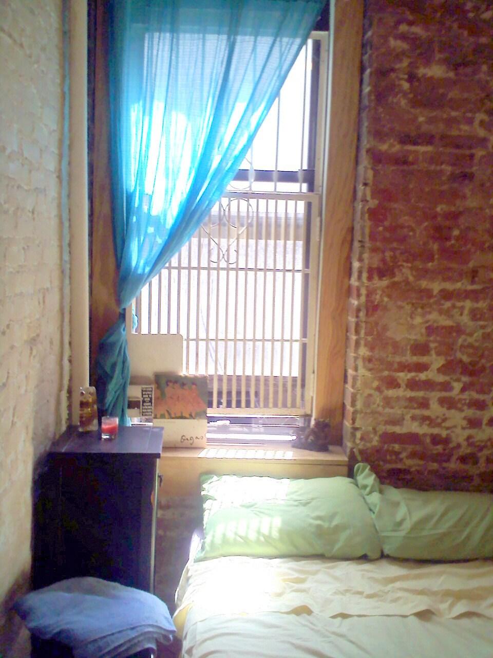 Exposed brick, natural light, locked windows