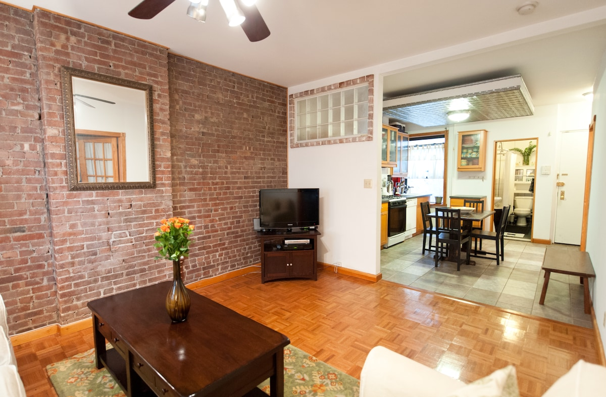 One of my favorite things about the apartment is the exposed brick. Apartment equipped with HD TV and internet. Check out the cool kitchen ceiling! Very New York.