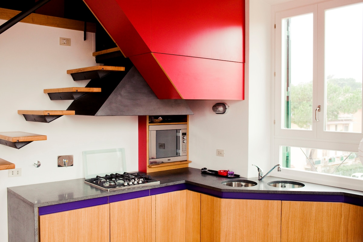kitchen, fully equipped with dishwasher, fridge, microwave