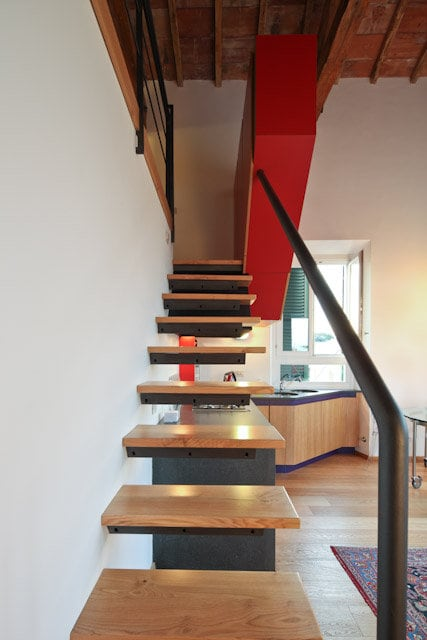 reach bath and sleeping area by this particular staircase
