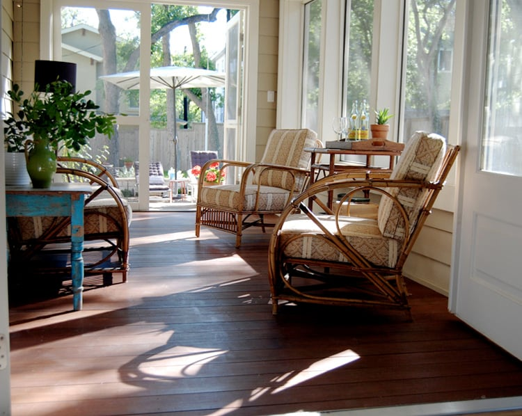 This sweet porch off dining room allows for easy stroll out to sit with coffee in the mornings or late night drink with cool evening breezes