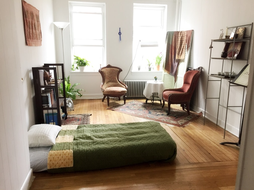 Cozy living room steps from the T!