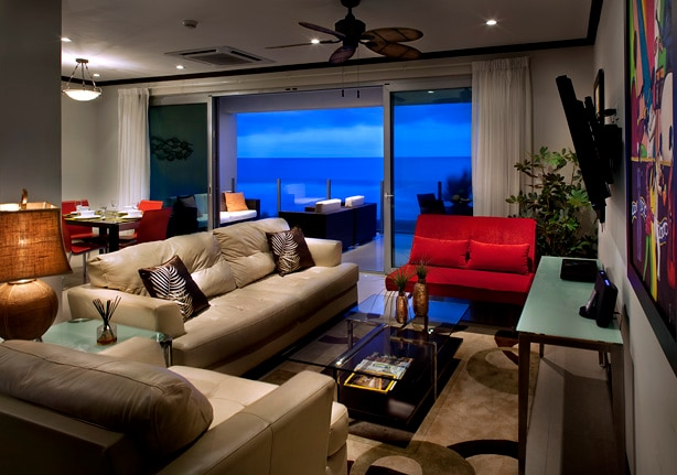 Nicely decorated living room with ocean view