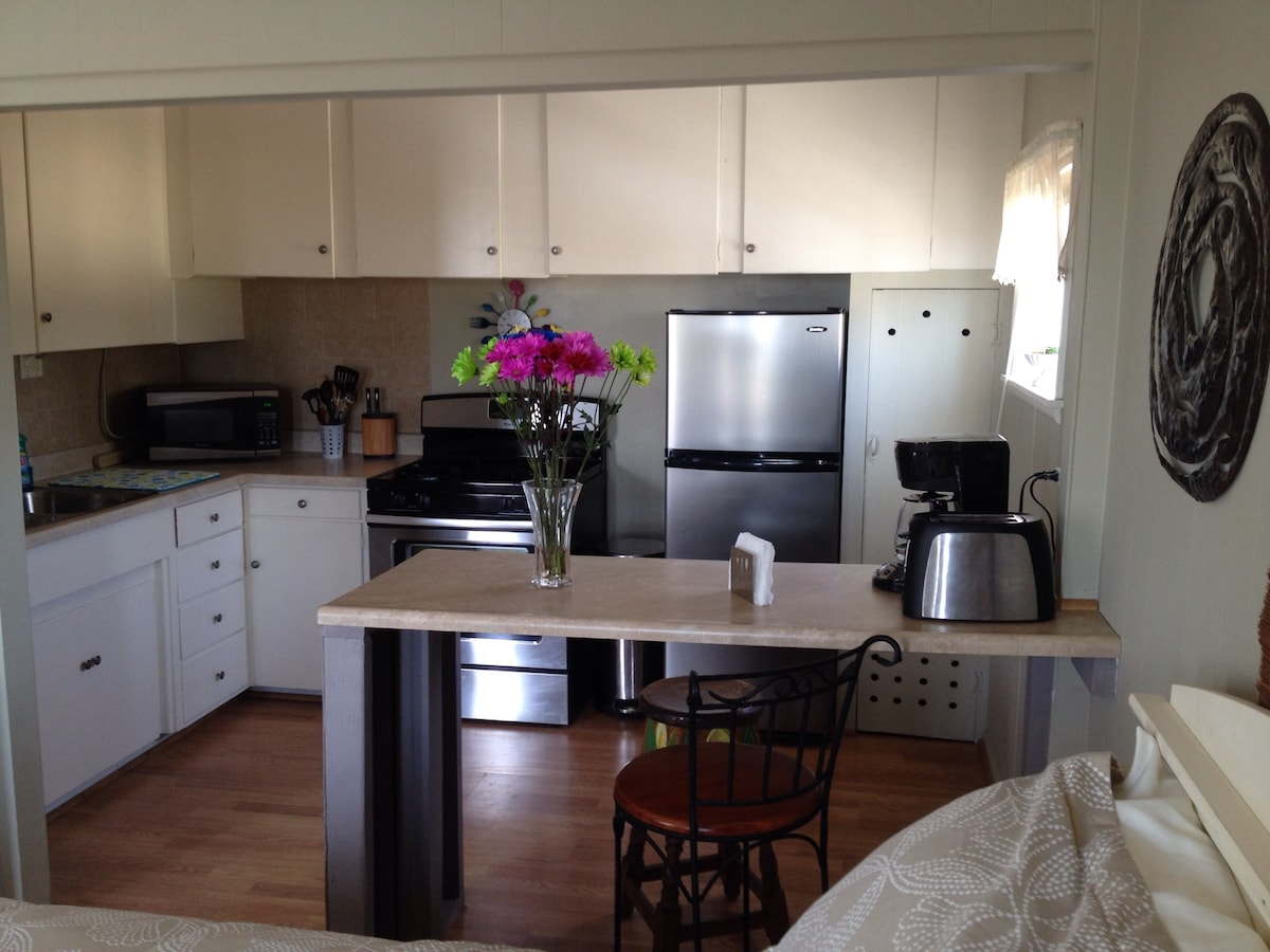 Great Full Kitchen! Stove, oven, fridge, microwave, toaster, coffee pot ( with coffee). Includes all kitchen necessities such as dishes, silverware, cooking utensils. I also want to make your stay comfortable so I will provide a couple breakfast items:)