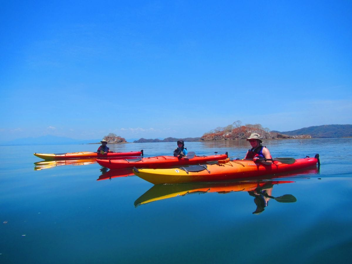 Sea kayaking on the calm gulf water