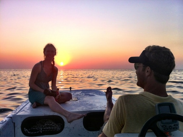 Sunset boating on the Pamlico Sound