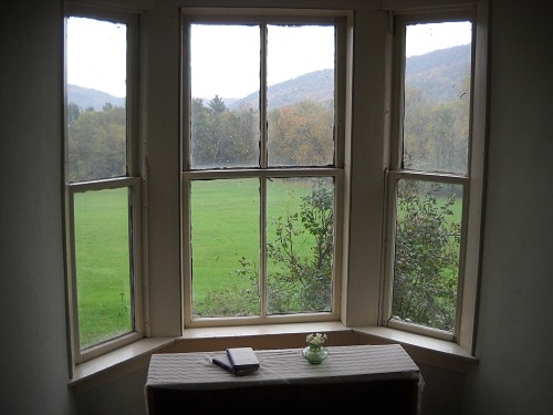 Looking out the dormer window at the beginning of the fall foliage season.