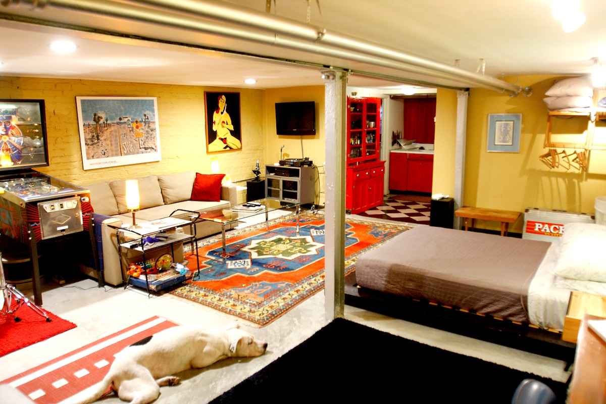 The space is one large room with a queen bed and a queen sleeper sofa.
