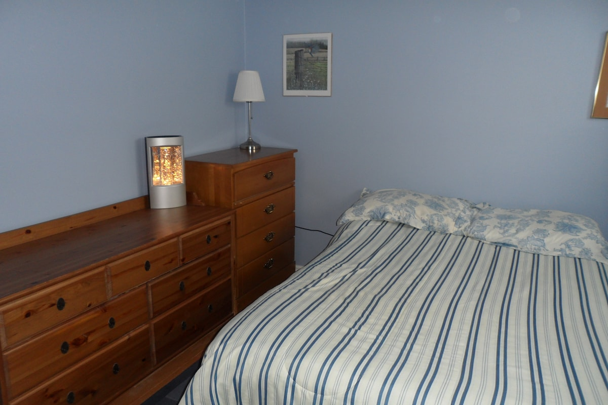 Blue bedroom has a tall dresser and triple dresser. Lots of storage for your items.