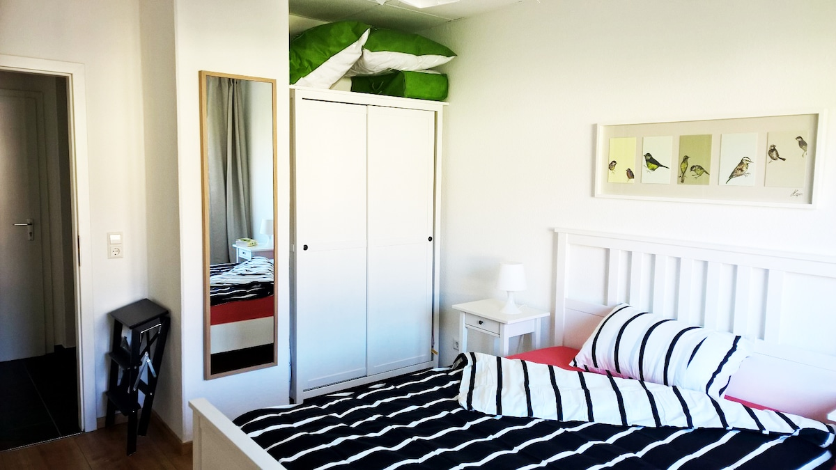 Main room with brand new: Double bed, wardrobe and desk