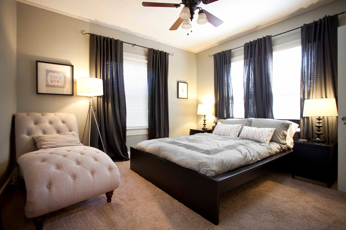 Bedroom 1 - Luxury linens, chaise lounge, plush bath robes, makeup boudoir, full-length mirror.