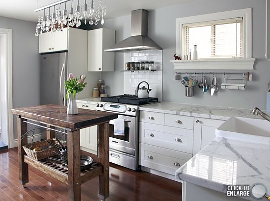we love our kitchen: gas stove and oven! Incognito dishwasher. Marble counters! Sun...