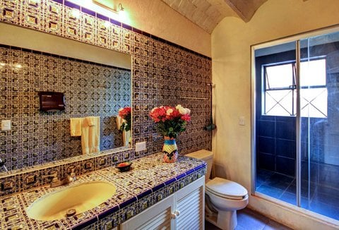 Gorgeous tiled bathroom with oversized walk-in shower