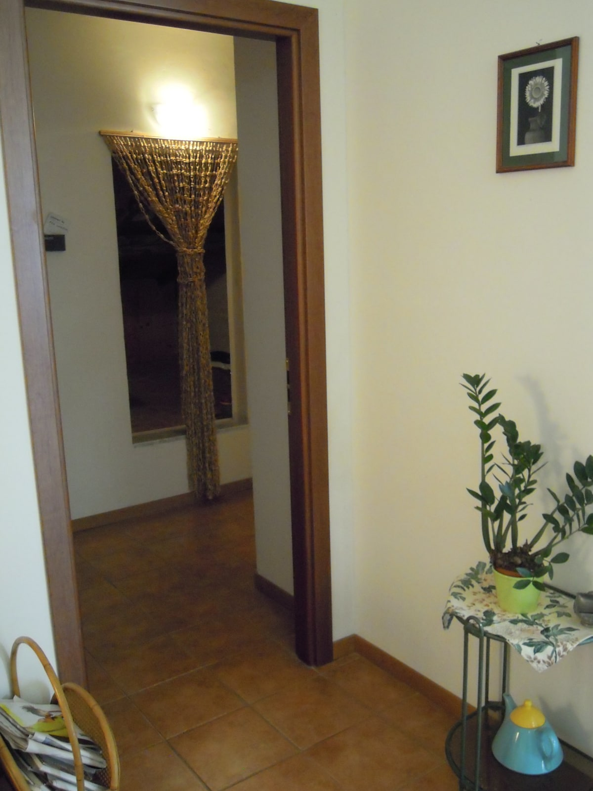 From the living room into the small corridor that leads to the bathroom and bedroom
