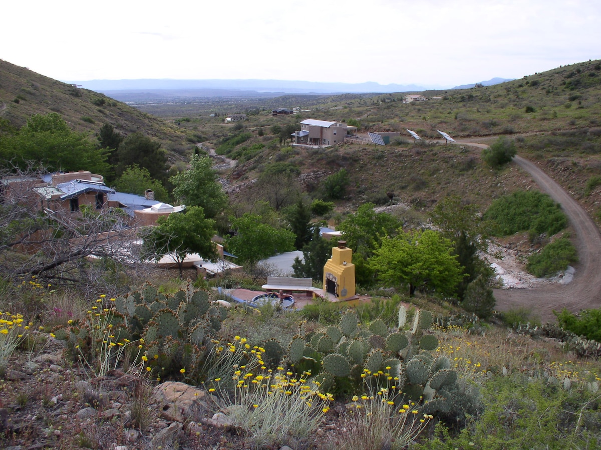 View of the Hot Tub Terrace and the some of our buildings, looking east into the Verde Valley