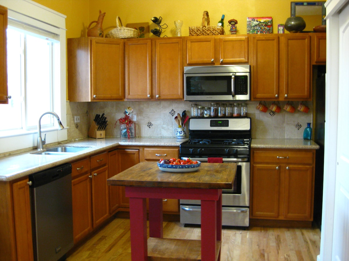 Another view of the kitchen, showing the great natural light.