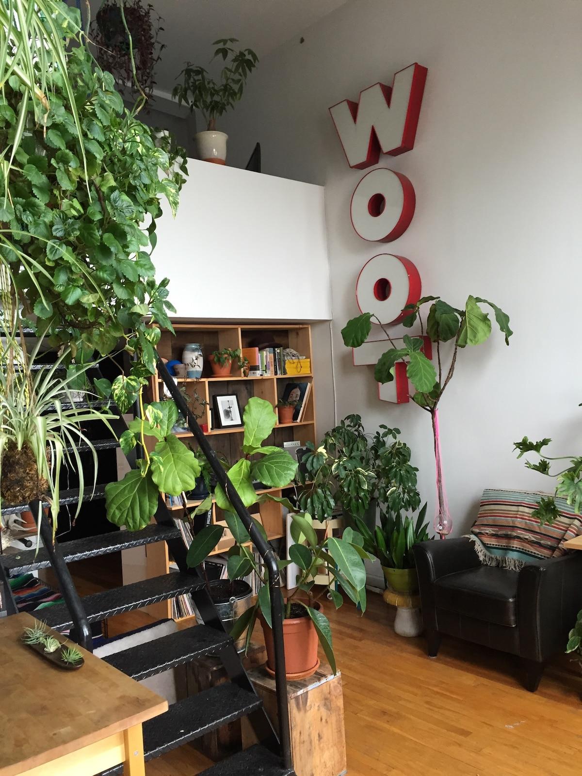 Sunny plant filled Bushwickloft apt