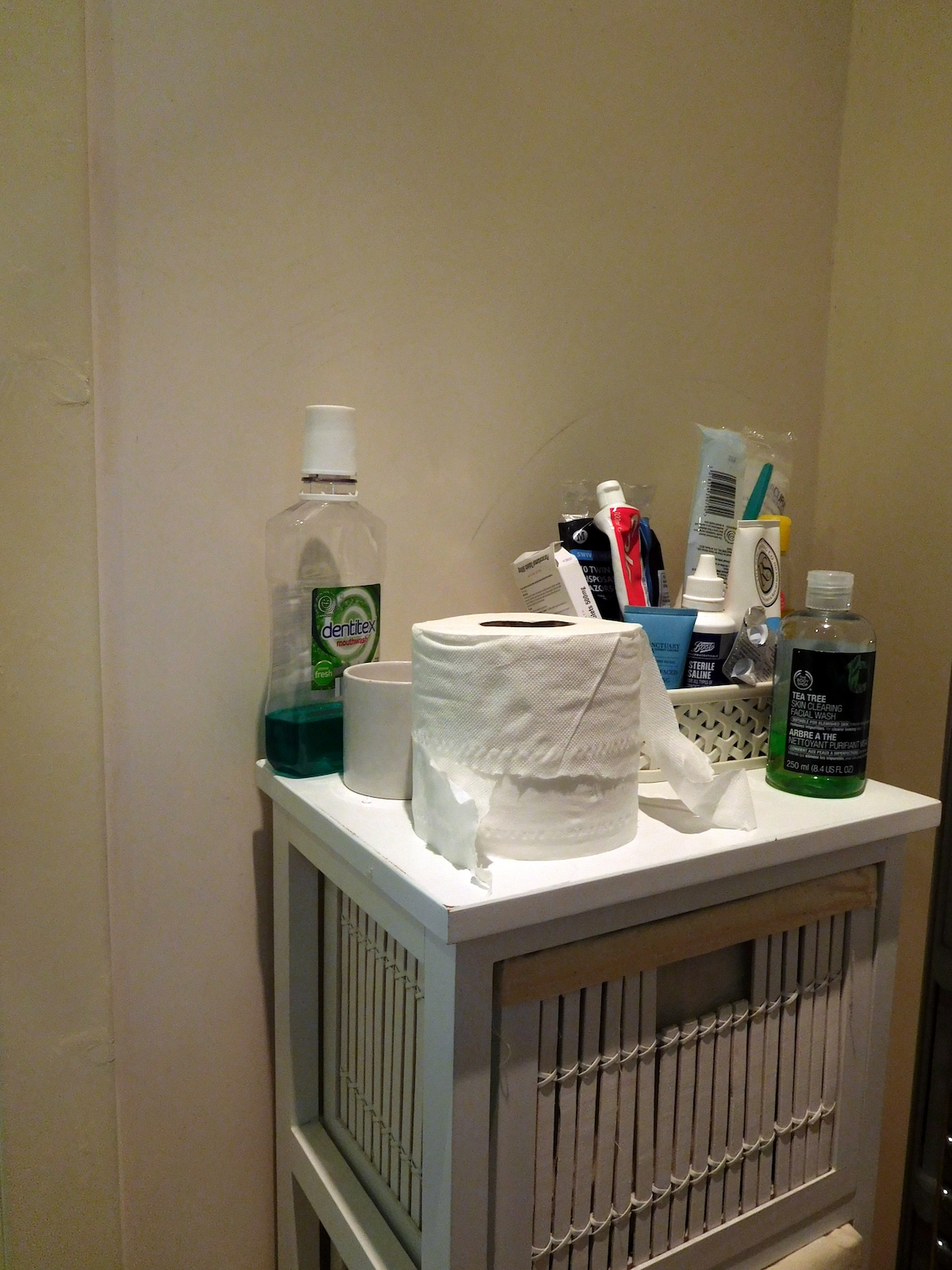 The bathroom's stocked with toiletries and essentials in case you've left something behind.