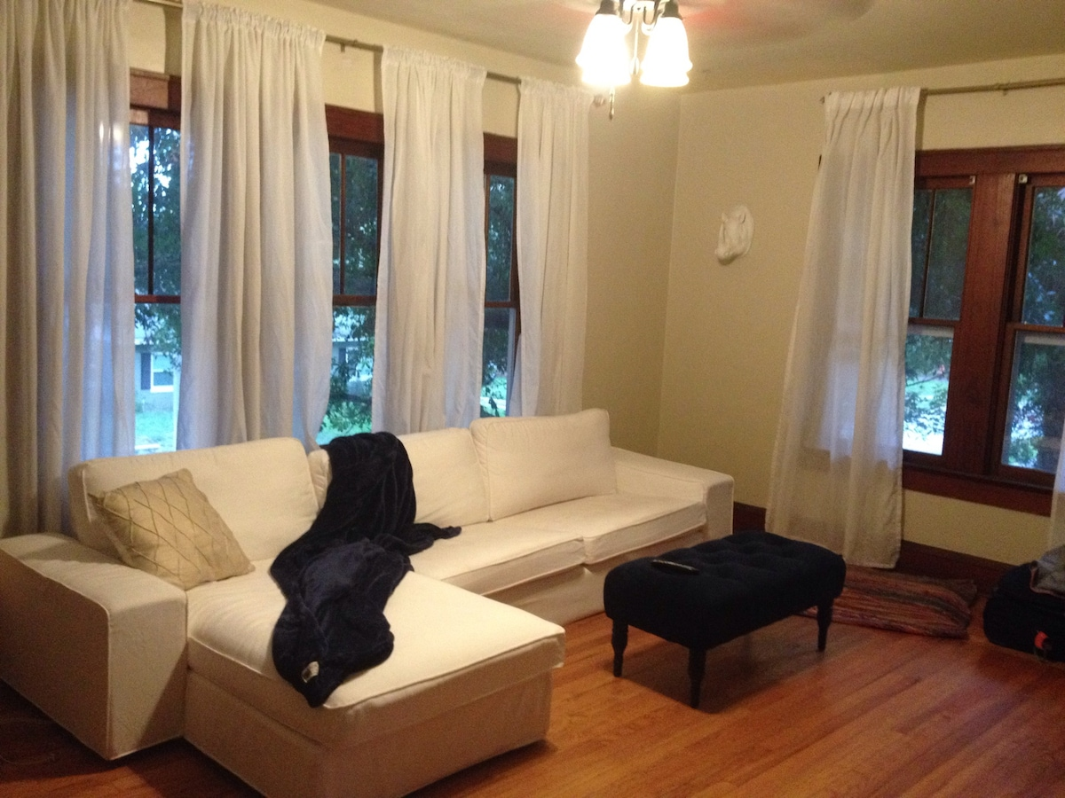 Comfy couch in upstairs apartment!