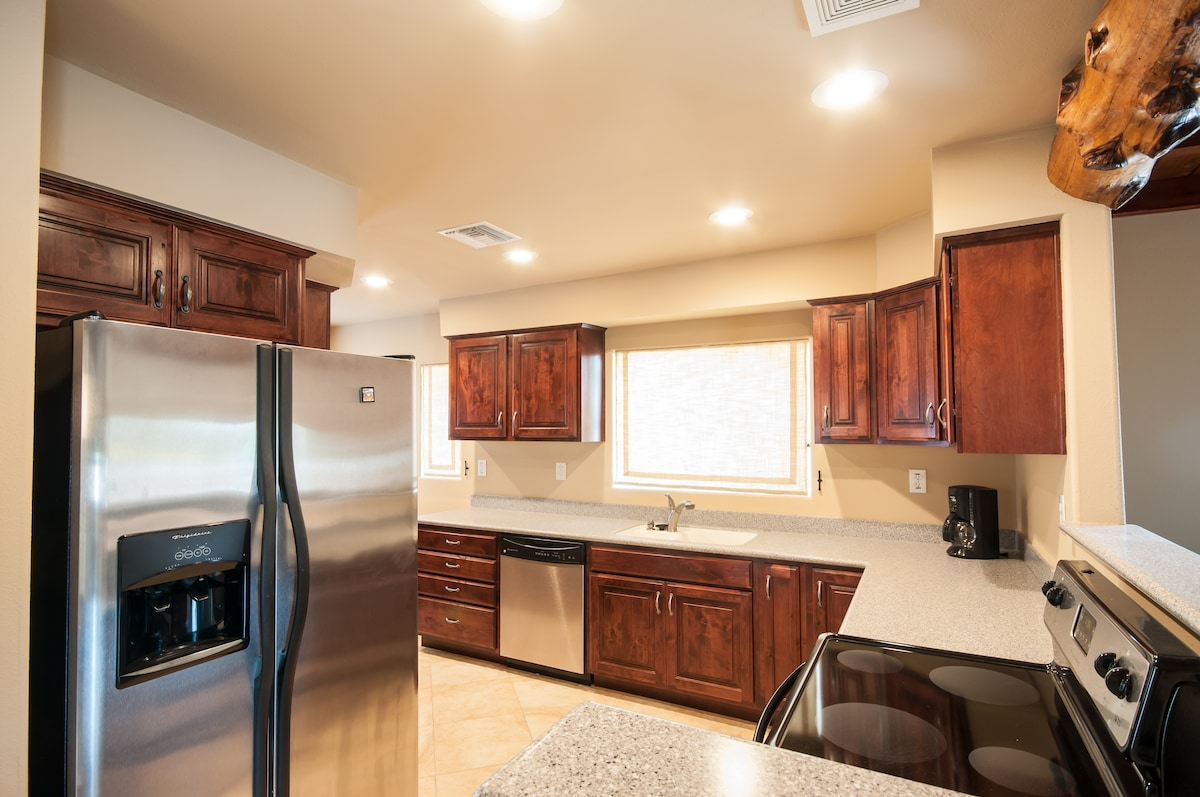 Beautiful modern kitchen for your use at mealtime.