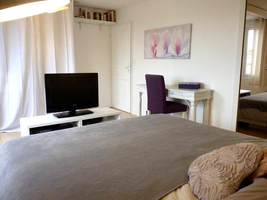 Big quiet bedroom, B&B, private bathroom&WC, sauna - Miribel - Talo