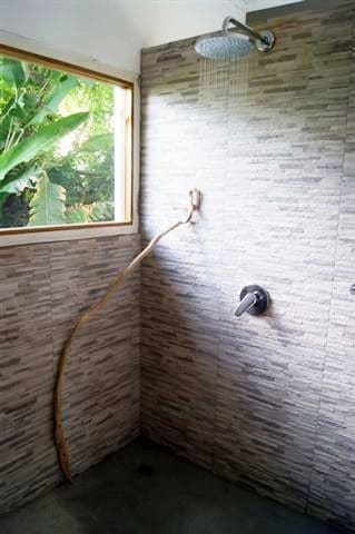 Fantastic Shower Area and a tropical view !