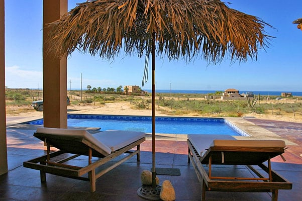 Looking out over the pool from the entrance.