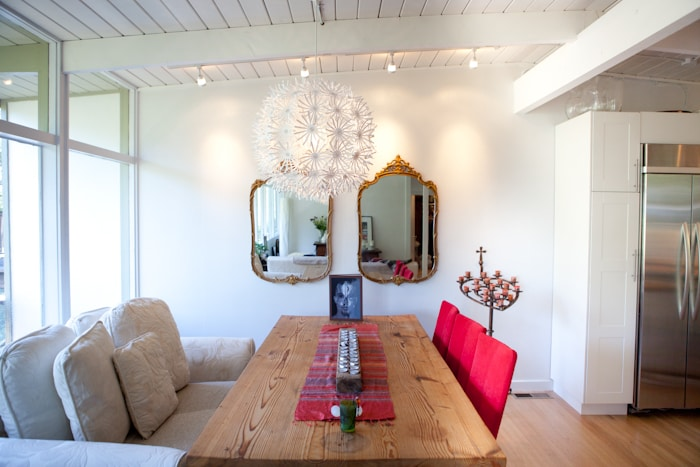 Dining table for up to 8 people. Table is made from the last piece of reclaimed wood from Coit Tower san francisco