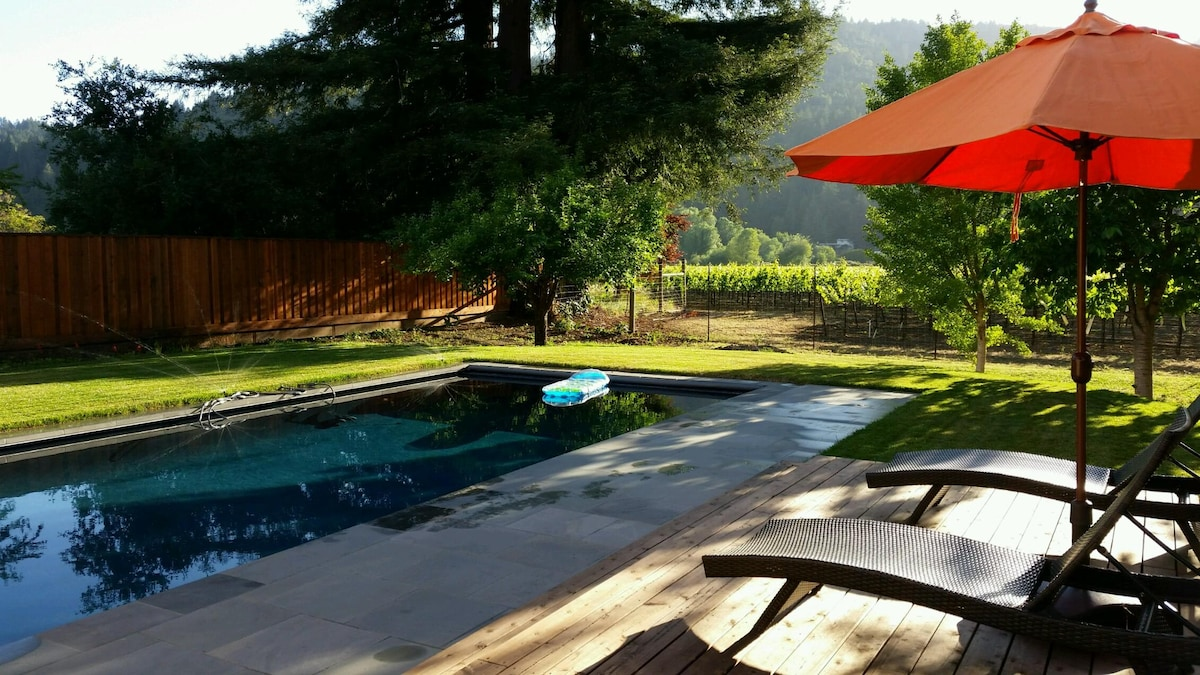 Vineyard views & heated saline pool