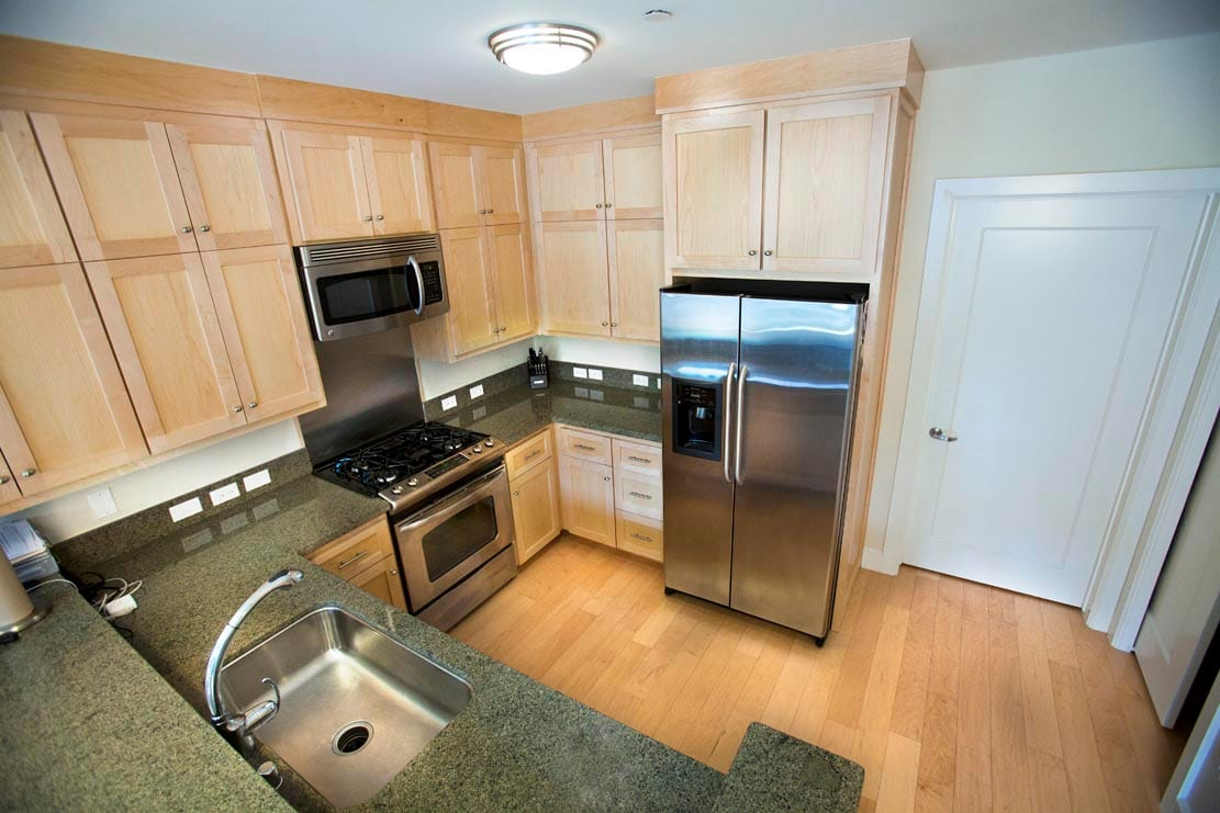 Full complete kitchen with marble counter tops