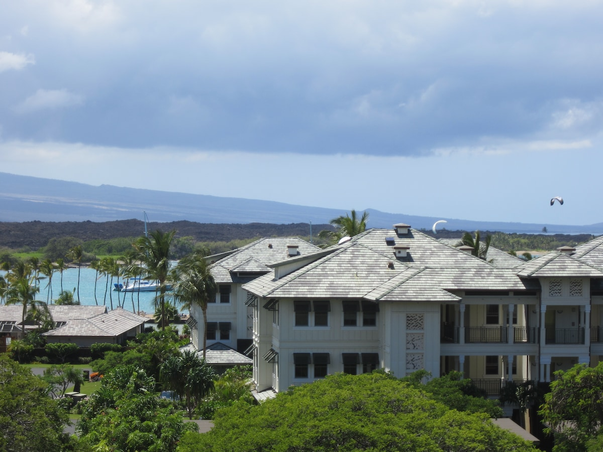 View of Anehoomalu Bay from our third floor lanai. The Beach is across the street!