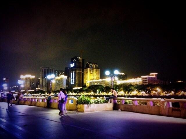 Nearby YeJiangLu, pedestrian street alongside the riverside nearby our apartment!