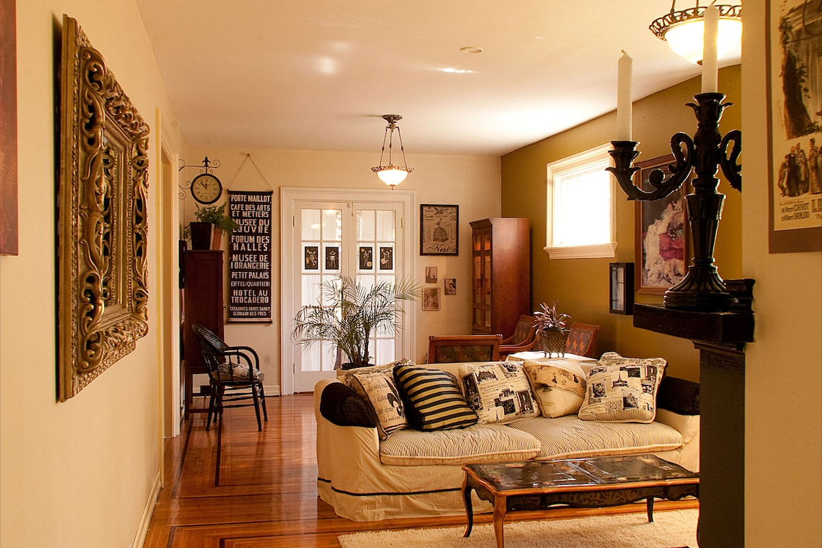 The parlor is chic and spacious.