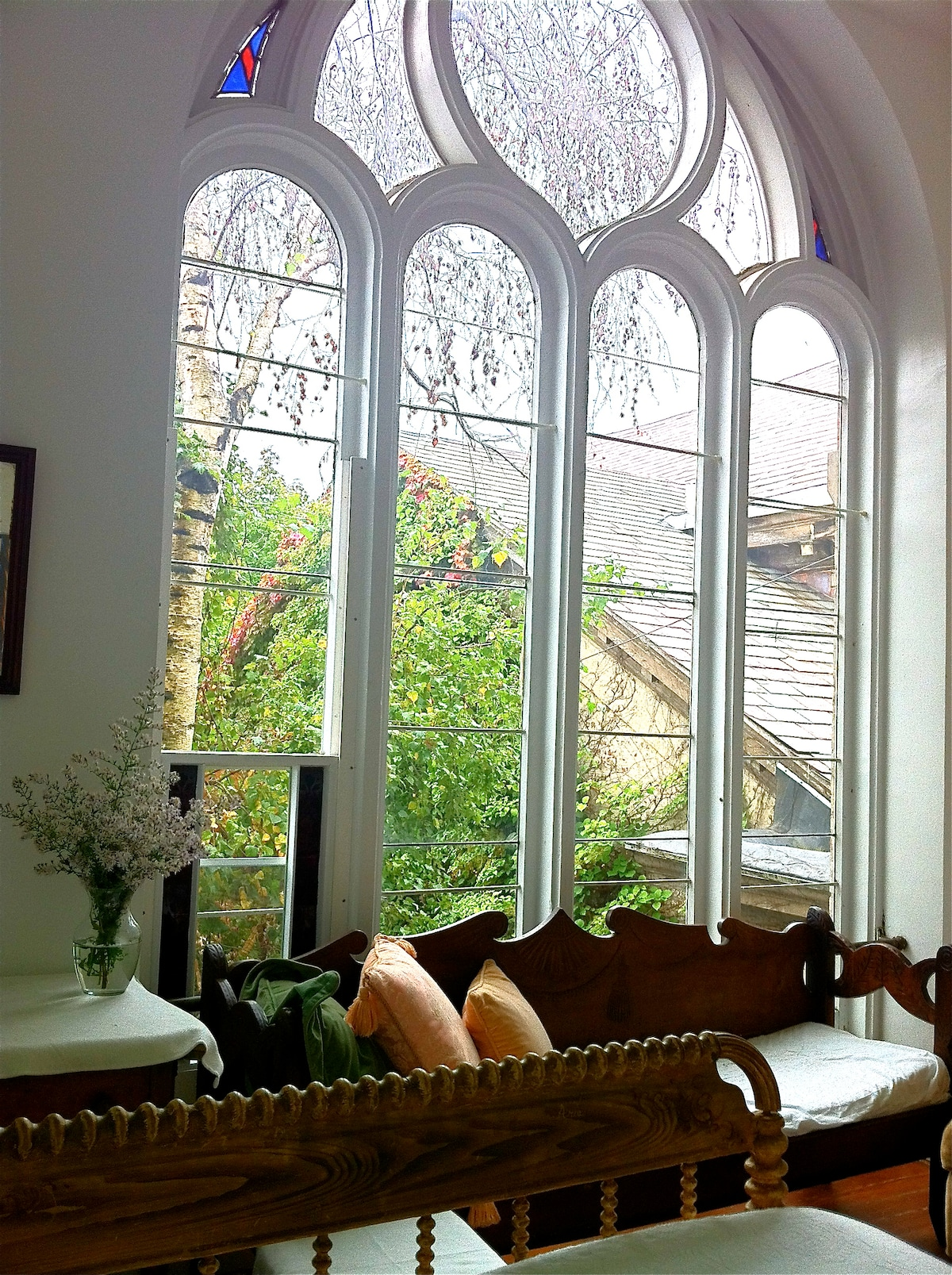 The chapel room window.