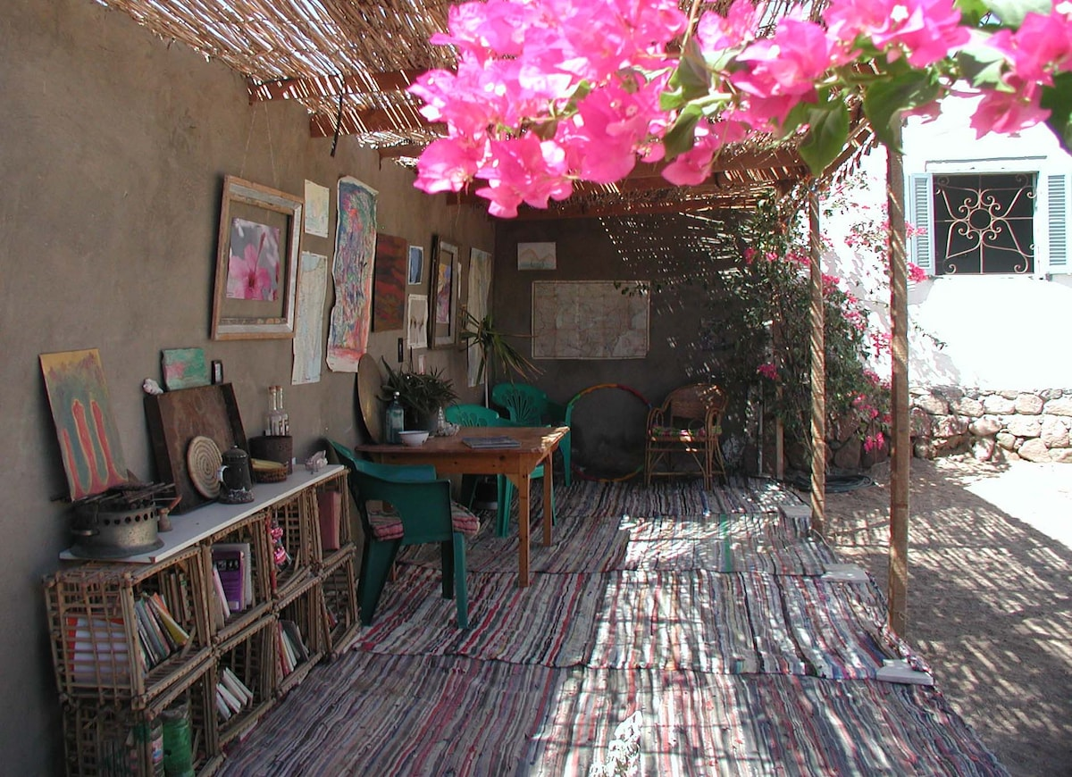 "The ""arisha"" is a funked up Bedouin shade, another outdoor room."