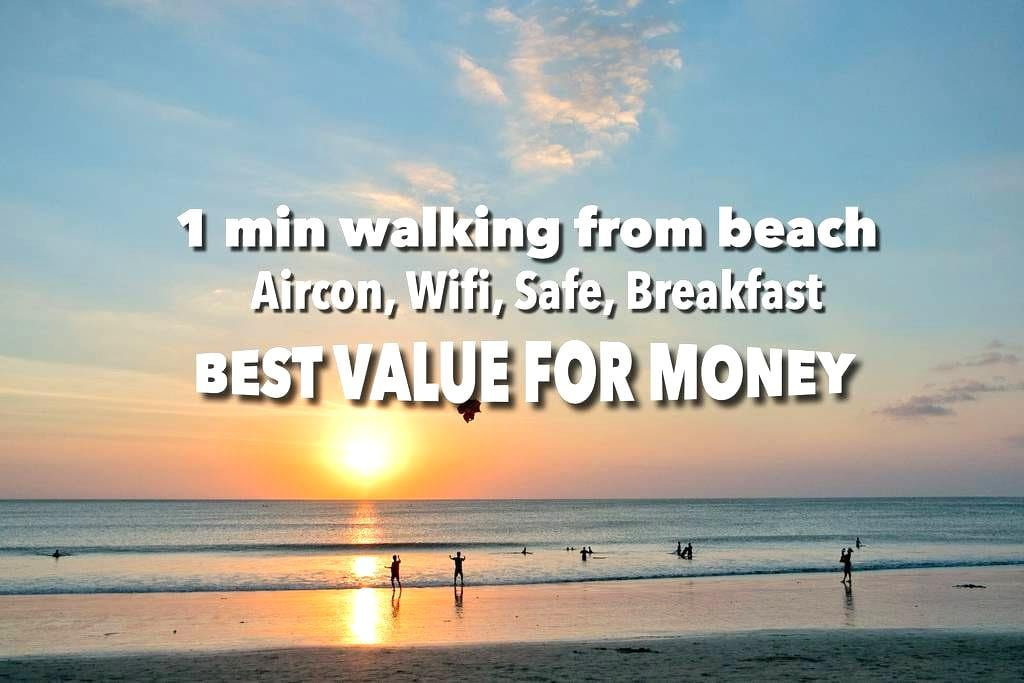 100M from Jimbaran Beach / Aircon, Wifi, Bfast - B - South Kuta - Byt